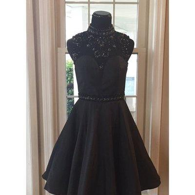 Halter Neck Black Satin Homecoming Dress Knee Length Women Dress