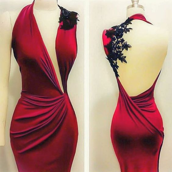 Hollow Black Mermaid Red Chiffon Evening Dress Black Lace Appliques Formal Party Dress