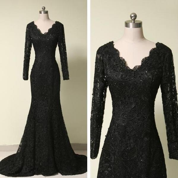 Full Lace Long Sleeves Mermaid Black Lace Prom Dress formal Dress