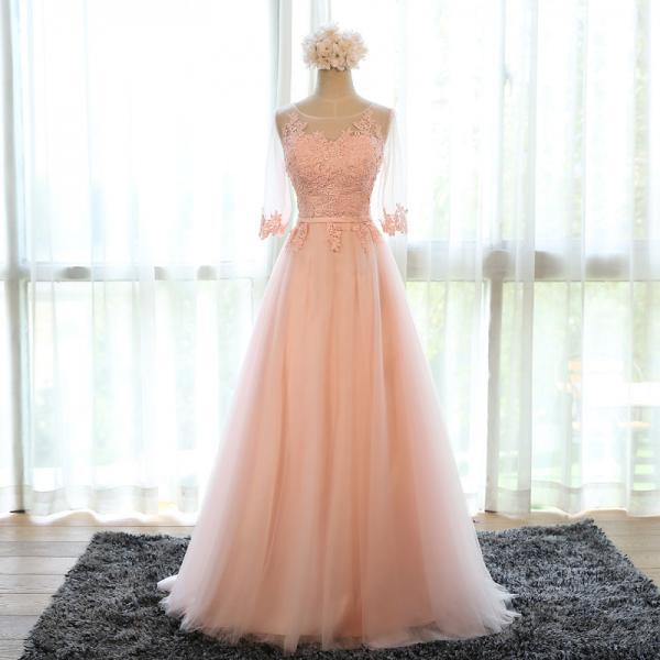scoop neck long tulle prom dress lace appliques floor length formal evening dress