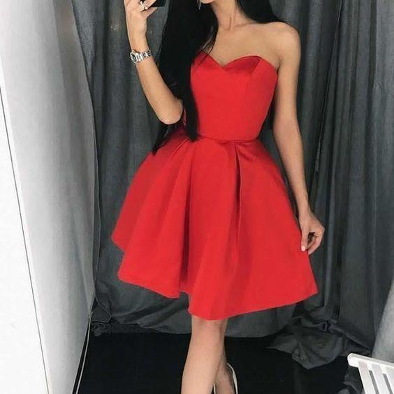 b54437f624c3 ... Above Knee Red Satin Prom Dress Strapless Short Women's Party Dress