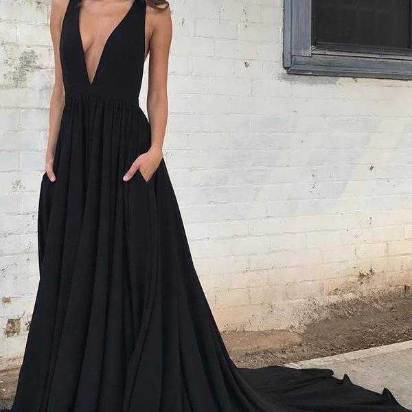 Deep V Neck Long A-line Black Formal Prom Dress