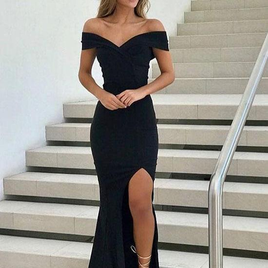 Off the Shoulder Sheath chiffon Prom Dress Floor Length Split