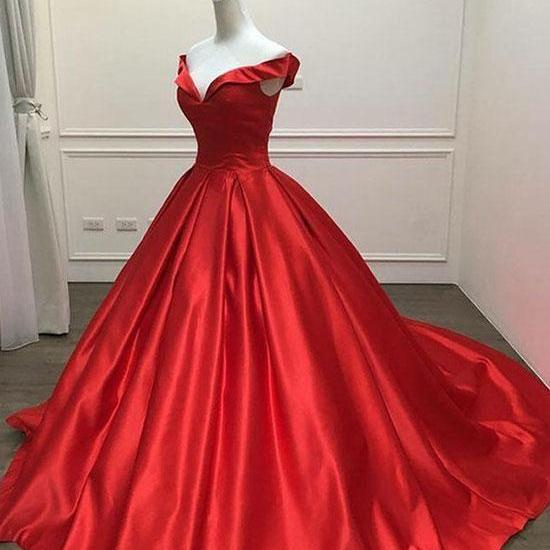 Off the Shoulder Red Satin Prom Dress Floor Length Zipper