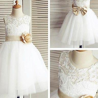 Scoop Neck White Short Lace Flower Girl Dress Bow Tie