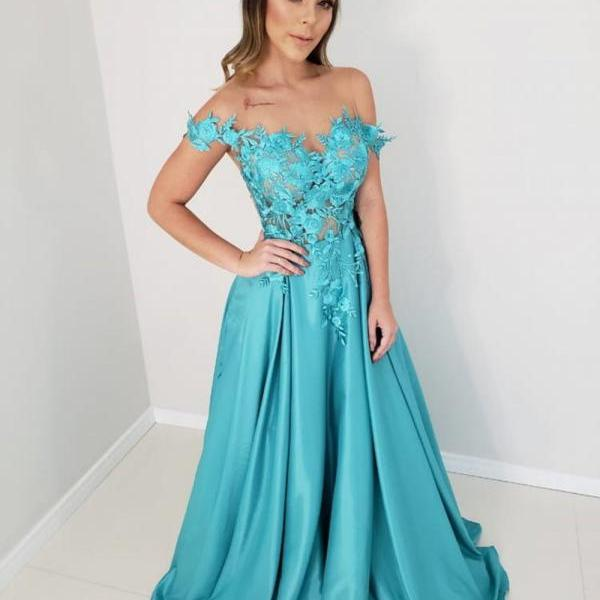 Elegant Off Shoulder Prom Dresses Long 2019 A-line Illusion Lace Formal Dress Peacock Blue robe de soiree Evening Gowns