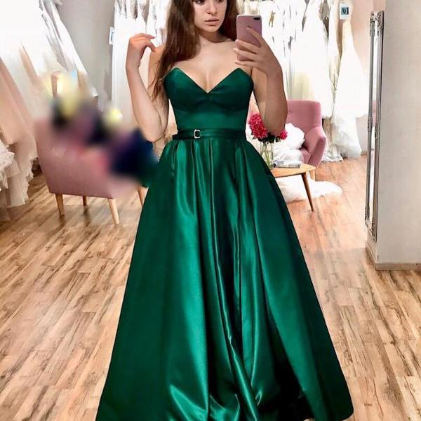 Emerald Long Prom Dresses Sweetheart Satin Prom Gowns A Line Evening Party Dresses with Side Slit Belt Formal Dress