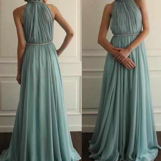 High Neck Long Chiffon Evening Floor Length Women Party Dress