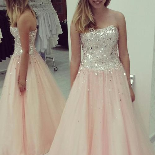 Long Pink Crystals Tulle Prom Dresses Strapless A-line Beaded Party Dresses