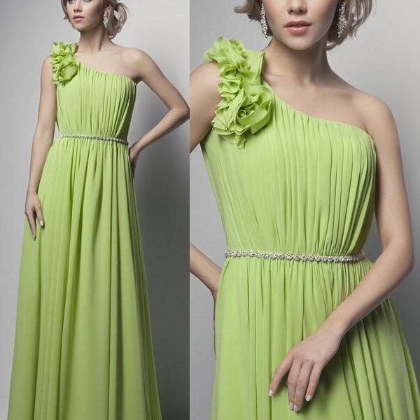 Green Long Chiffon Prom Dresses One Shoulder pleat Women Party Dress