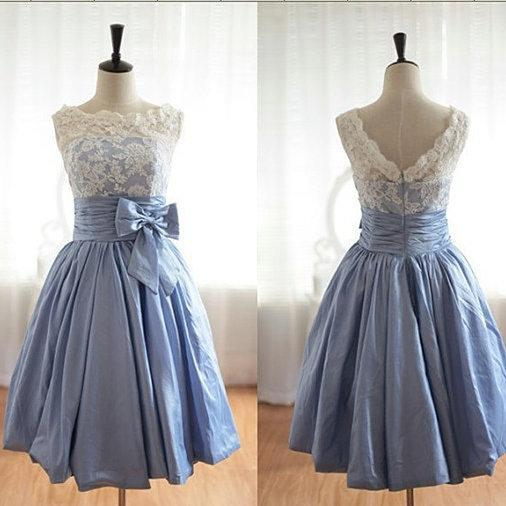 Women's Soft Satin Short homecoming Dresses Lace Party Dresses Bow Tie