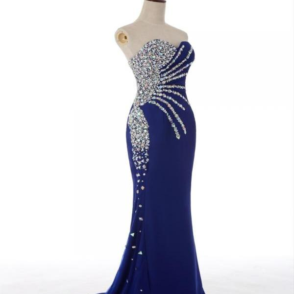 Royal Blue Crystals Mermaid Chiffon Prom Dresses Floor Length party Dress Sweetheart