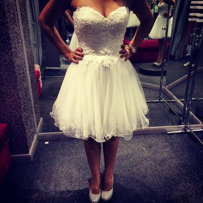 Sweetheart Neck Appliques Short Tulle Homecoming Dresses Above Knee Mini Dress