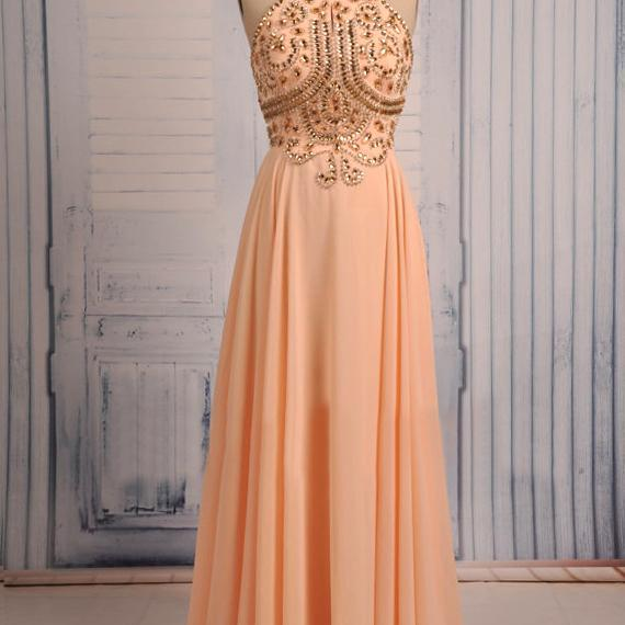 Spaghetti Straps Crystals Long Chiffon Prom Dresses Floor Length Women Dress