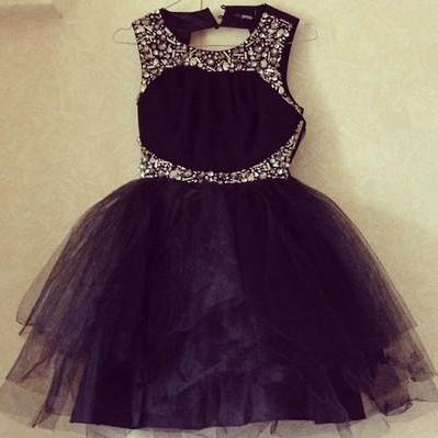 Black Short Tulle Homecoming Dresses Above Knee Mini Party Dresses