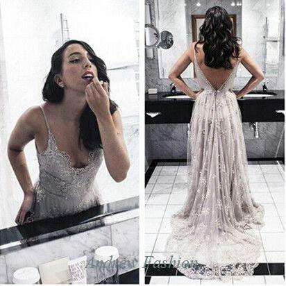 Sexy Long lace beaded Party Dresses Backless floor Length Prom Dresses