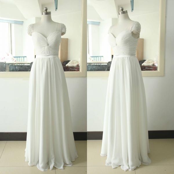 Long Chiffon White Prom Dresses Sweetheart Neck Pleat Party Dresses