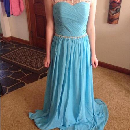 Scoop Neck Long Chiffon Blue Prom Dresses Crystals Floor Length pleat Party Dresses