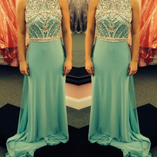 O-neck Long Chiffon Prom Dresses Crystals Floor Length Party Dresses Tailor Made 2016