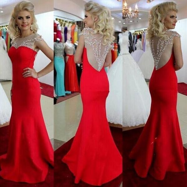 Long Mermaid Chiffon Prom Dresses Lace Crystals Beaded Party Dresses 2016 tailored