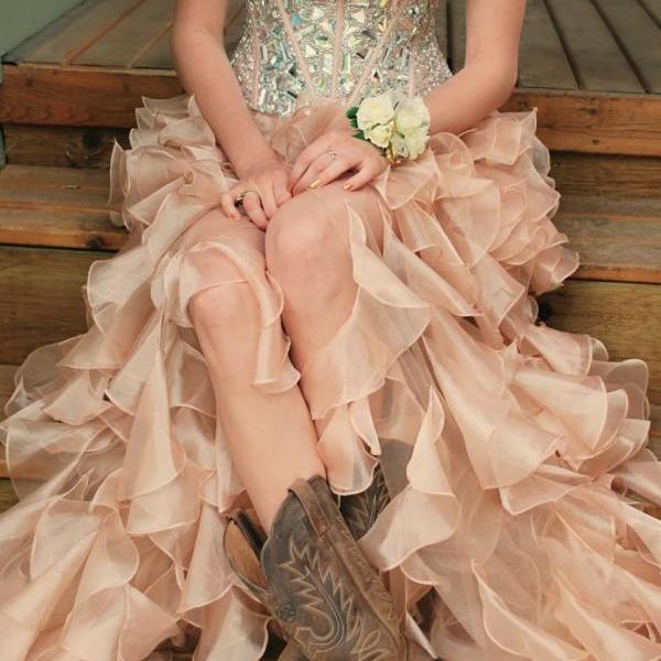 Organza Crystals Prom Dresses Sweetheart Neck Beaded Party Dresses Floor Length