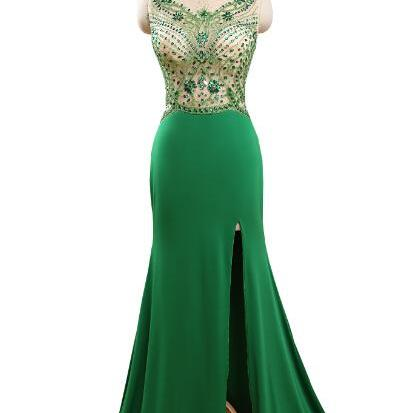 Scoop neck Long Chiffon Green Prom Dresses Floor Length Split Evening Dresses