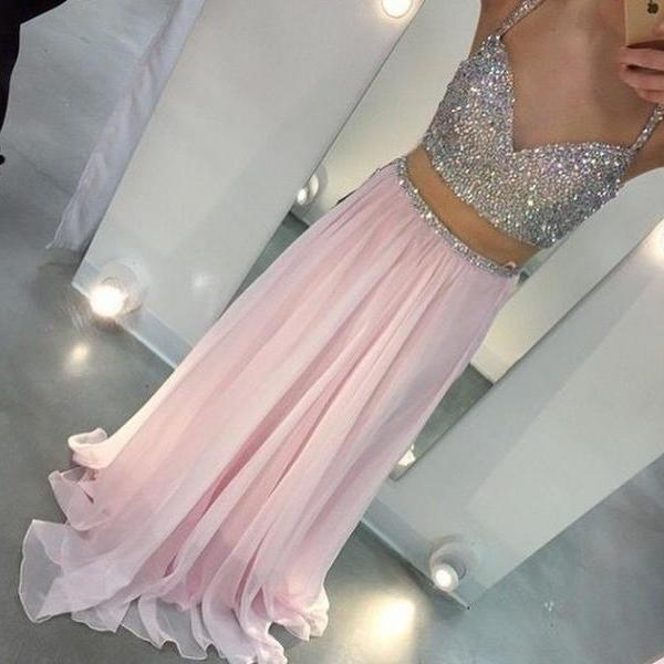 Spaghetti Straps 2 pieces A-line Chiffon Pink Prom Dresses Floor Length