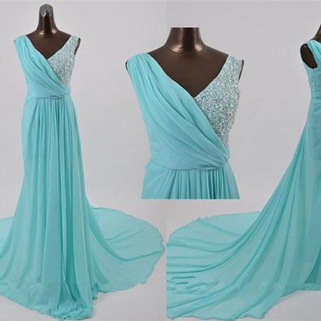 V-neck Long Chiffon V-neck Prom Dresses Crystals Floor Length Party Dresses Fashion women formal dresses