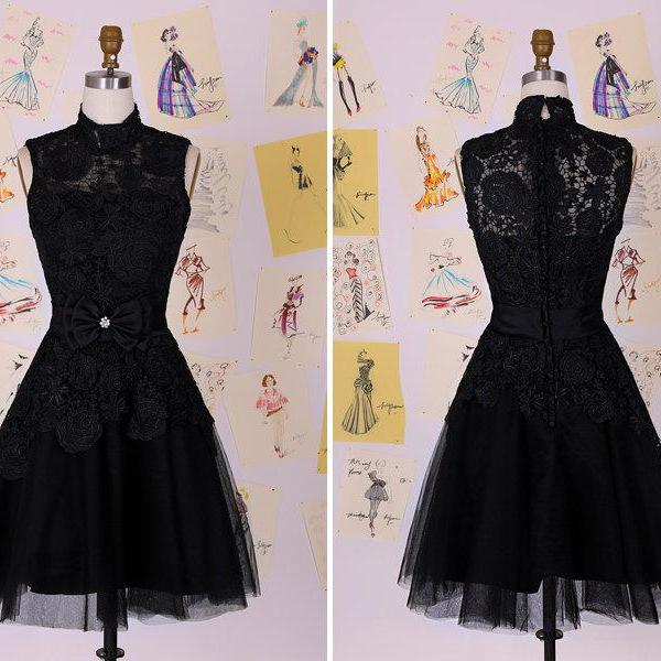 High Neck Short Tulle Black Homecoming Dresses Above Knee Mini Party Dress