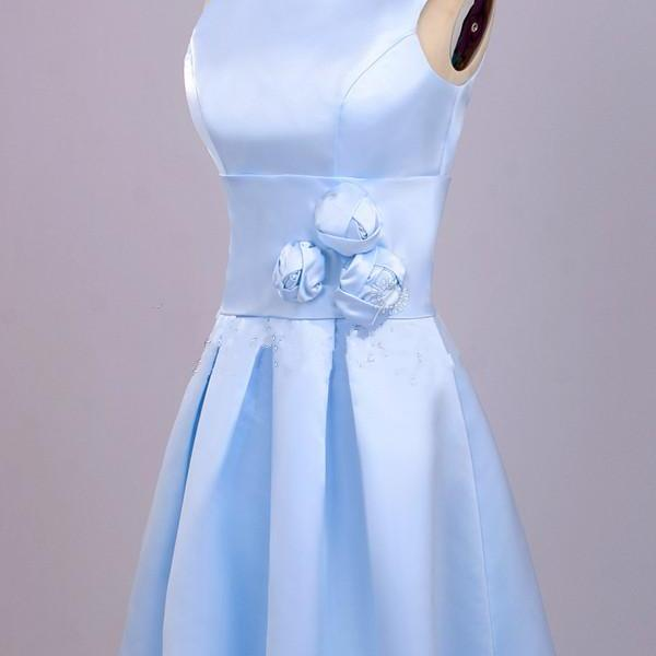 Scoop Neck Short Satin Blue Homecoming Dresses Hand Made Flower Lovely Party Dresses