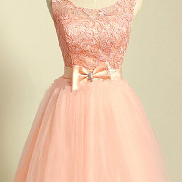 Scoop Neck Short Tulle Homecoming Dresses Lace Pink Lovely Party Dresses