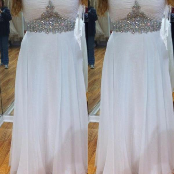 Sweetheart Neck Long White Chiffon Prom Dresses Floor Length Crystals Party Dresses