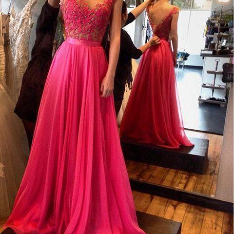 Scoop Neck Long Chiffon Prom Dresses Appliques beaded Party Dresses Floor Length