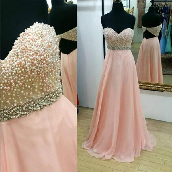 Strapless Long Chiffon Pink  Prom DressesFloor Length Party Dresses Custom Made Women Dresses