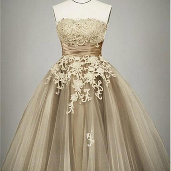 Strapless Short A-line Tulle Homecoming Dresses with Lace Appliques Mini Party Dresses