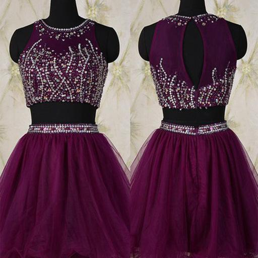 2 Pieces short tulle Purple Homecoming Dresses with Crystals Mini Party Dresses