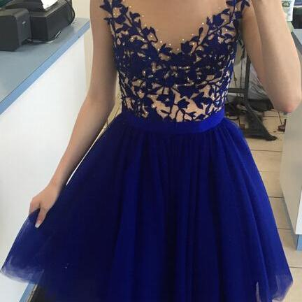 Royal Blue Short Tulle Homecoming Dresses Sweetheart Neck crystals mini party dresses