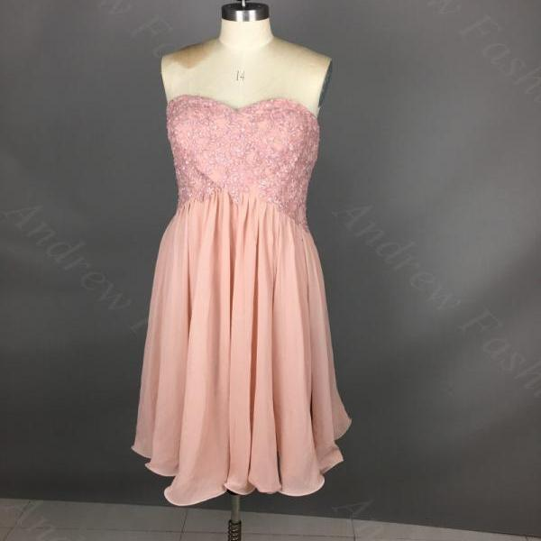 Strapless Short Chiffon Pink Homecoming Dresses With Lace Appliques Mini party Dresses