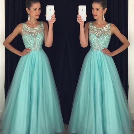 Scoop Neck Long Tulle Crystals Women Prom Dresses