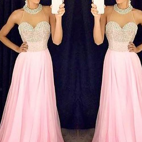 Pink Long Chiffon Prom Dresses Sweetheart Neck Women Party Dresses