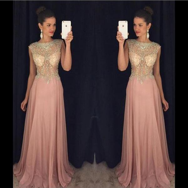 Scoop Neck Crystals Women Prom Dresses Long Chiffon Party Dresses