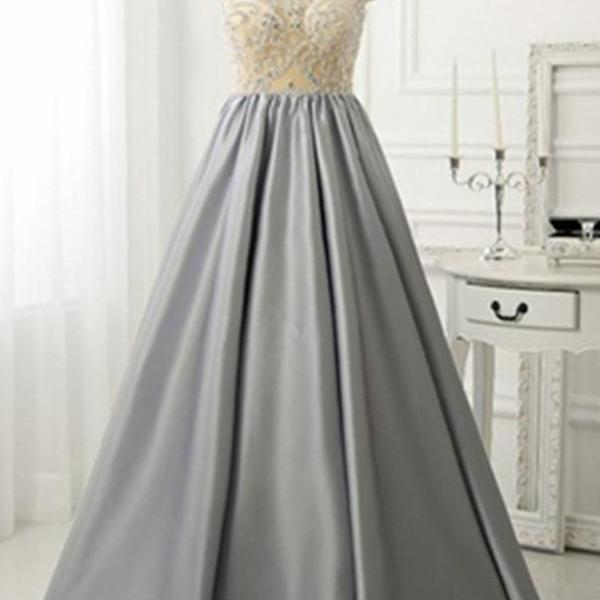 Scoop Neck Grey Satin Prom Dresses Crystals Women Party Dresses