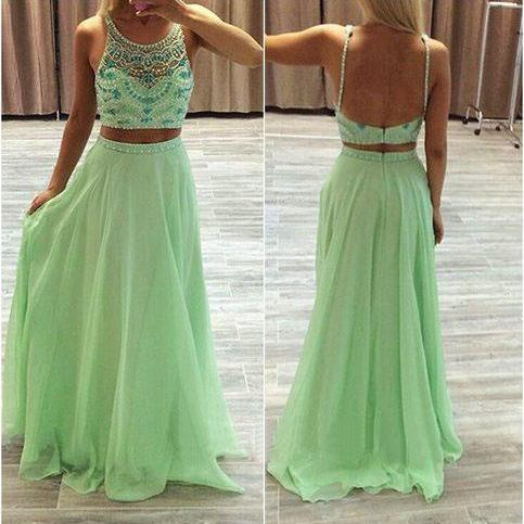 Open Back Green Chiffon Prom Dresses Two Parts Women party Dresses