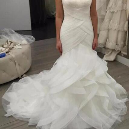 Mermaid Tulle Bridal Gowns Sweetheart Neck White Wedding Dresses