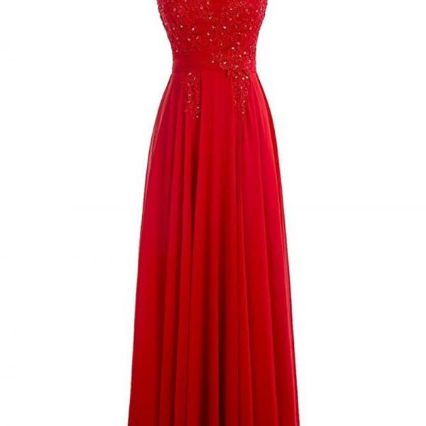 Scoop neck Long Red Chiffon prom Dresses beaded Women Party Dresses