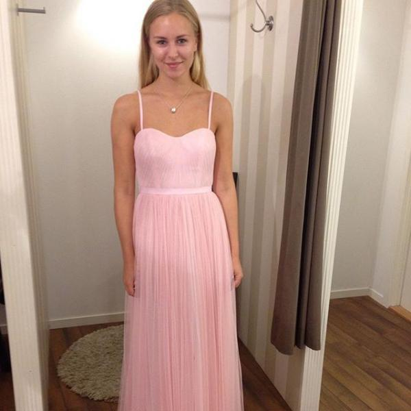 Spaghetti Straps A-line Pink Tulle Prom Dresses Custom Made Party Dresses