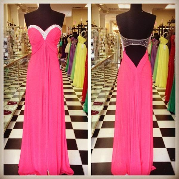 Sweetheart Long Chiffon prom Dresses Crystals Women party Dresses
