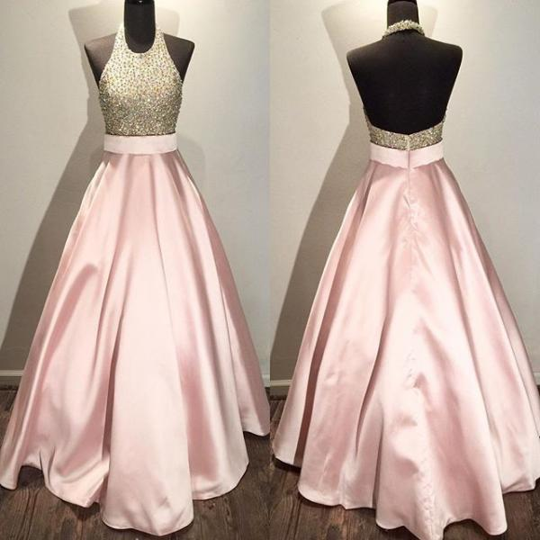 Open Back Pink Satin Prom Dresses Halter Neck Crystals Women Party Dresses