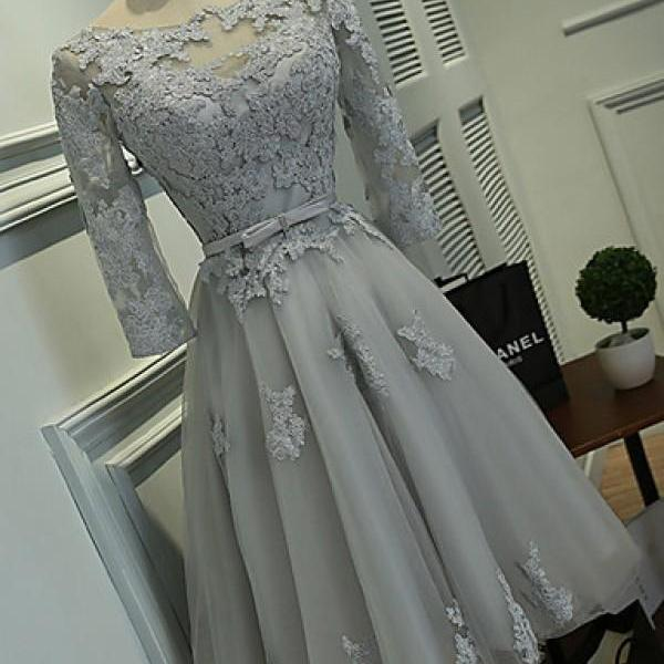 3/4 Sleeve Short Chiffon Homecoming Dresses Lace Appliques Women Party Dresses