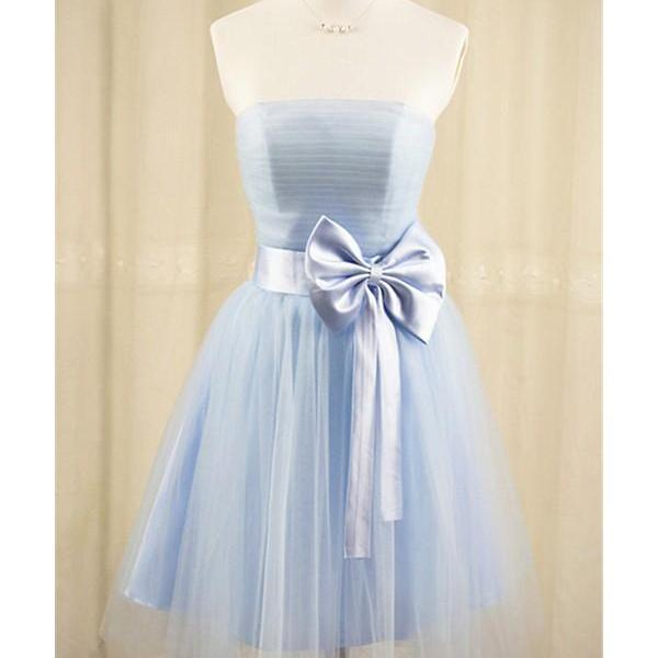 light blue short tulle Homecoming Dresses Strapless Bow Tie Women Party Dresses
